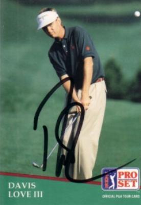 Davis Love III autographed 1991 Pro Set golf card