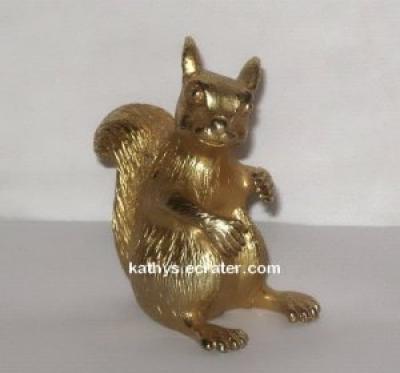 Metallic Gold Painted Metal Squirrel Animal Figurine