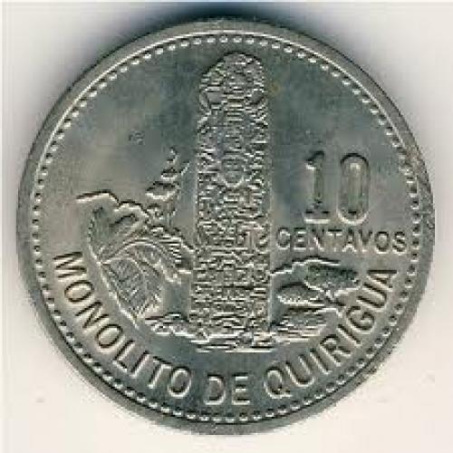 Coins; Guatemala, 10 centavos, 1978–1979