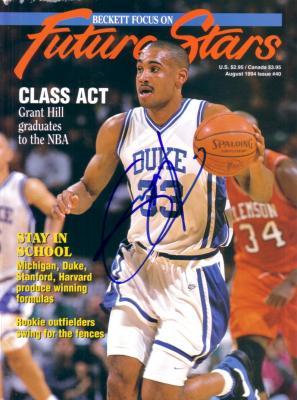 Grant Hill autographed Duke Beckett magazine cover