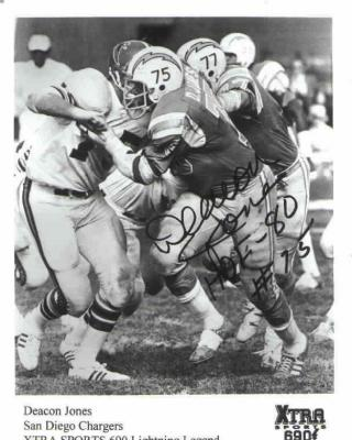 Deacon Jones autographed San Diego Chargers 6x8 photo