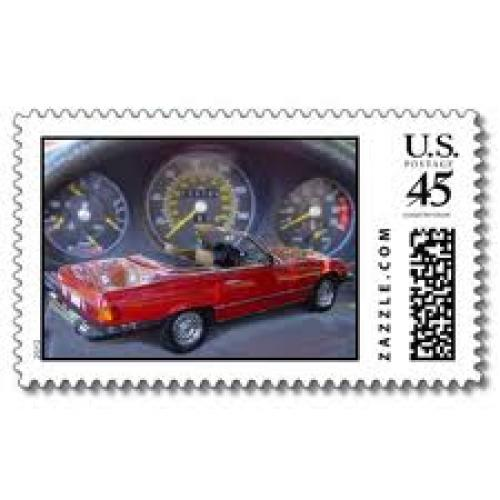 Stamps USA; sports car postage stamps by graphicmanphoto. red mercedes