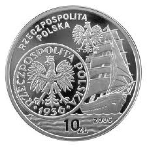 Coins; POLAND 10 ZLOTYCH of 2005 SHIP BOAT SILVER COIN