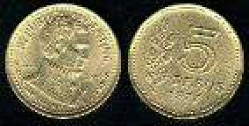 5 Pesos; year: 1977; (km 73); aluminum bronze; BICENTENARIO ALMIRANTE G.BROWN DEN.LAUREL