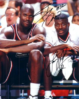 Shaquille O'Neal & Larry Johnson autographed 1994 USA Basketball Dream Team 2 8x10 photo