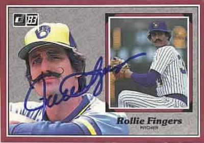 Rollie Fingers autographed Milwaukee Brewers 1983 Donruss jumbo card