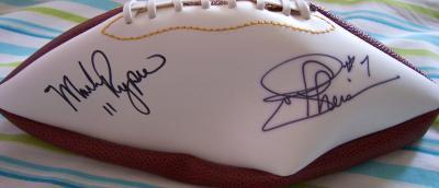 Mark Rypien & Joe Theismann autographed full size white panel football