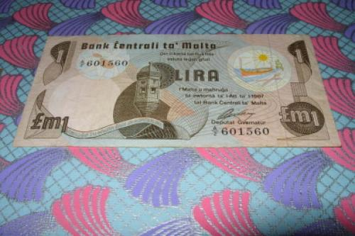 Banknote MALTA 1 Lira 1967