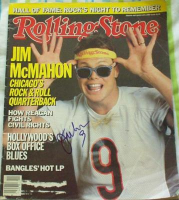 Jim McMahon autographed Chicago Bears 1986 Rolling Stone magazine