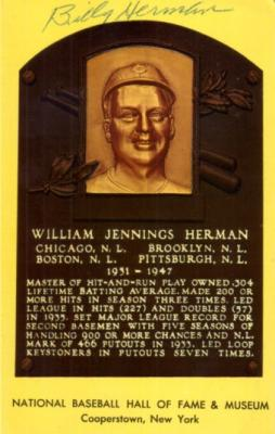 Billy Herman autographed Baseball Hall of Fame plaque postcard