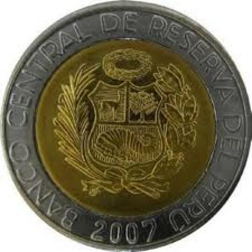 Coins; 2 Nuevos Soles - Peruvian Coin.