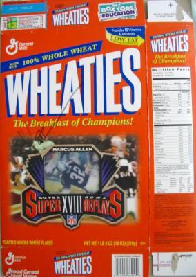 Marcus Allen autographed Raiders Super Bowl 18 Wheaties commemorative box