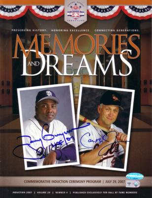 Tony Gwynn & Cal Ripken autographed 2007 Baseball Hall of Fame program