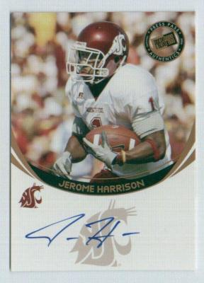 Jerome Harrison certified autograph Washington State 2006 Press Pass card