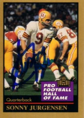 Sonny Jurgensen autographed Washington Redskins Pro Football Hall of Fame card