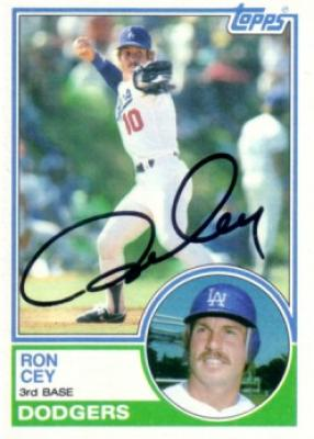Ron Cey autographed Los Angeles Dodgers 1983 Topps card
