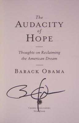Barack Obama autographed The Audacity of Hope book