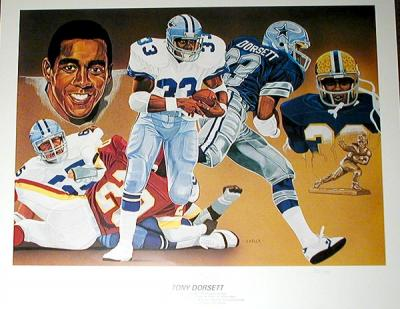 Tony Dorsett autographed Dallas Cowboys 18x25 lithograph ltd edit 750