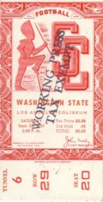1951 USC vs Washington State ticket stub PRISTINE