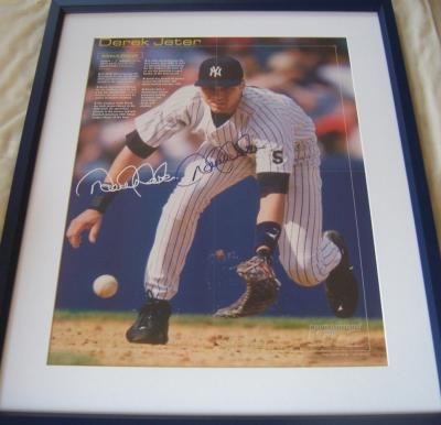 Derek Jeter autographed New York Yankees 16x20 inch poster matted & framed