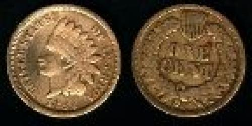 1 cent; Year: 1860-1864; Small Cent. Indian Head Oak Wreath cu-ni