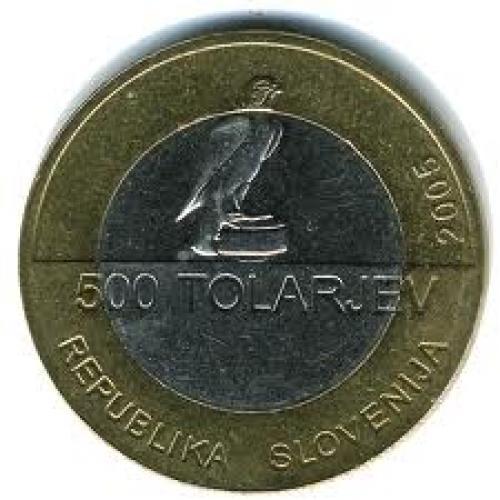 Coins; Slovenia_500 tolarjev ; Back image