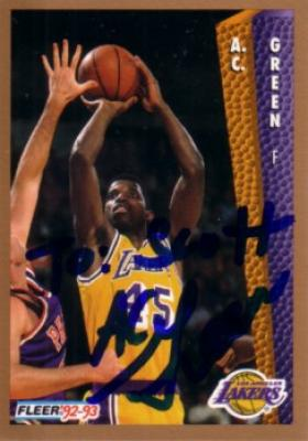 A.C. Green autographed Los Angeles Lakers 1992-93 Fleer card (To Scott)