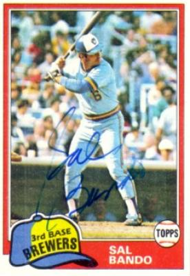 Sal Bando autographed 1981 Topps Milwaukee Brewers card