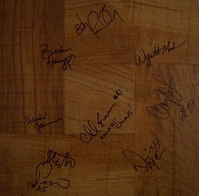 1984-85 Villanova National NCAA Champions team autographed floor Ed Pinckney