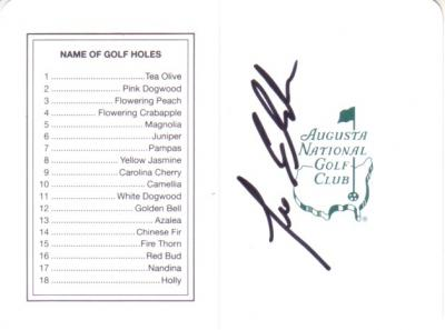 Lee Elder autographed Augusta National Masters scorecard