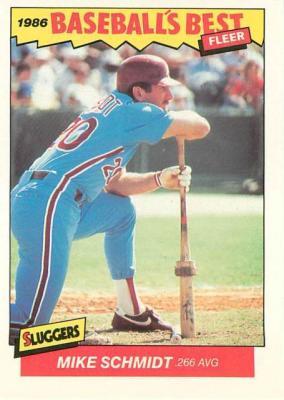Mike Schmidt Philadelphia Phillies 1986 Fleer Sluggers vs Pitchers card