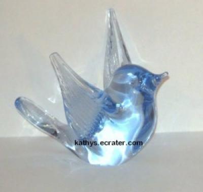 Reijmyre Sweden Light Blue Glass Blue Bird Figurine