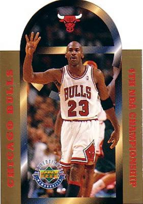 Michael Jordan 4th NBA Championship 1996 Upper Deck jumbo card #21223/25000