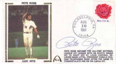 Pete Rose autographed Philadelphia Phillies 3631 Hits cachet envelope