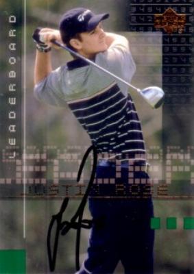 Justin Rose autographed 2002 Upper Deck golf card