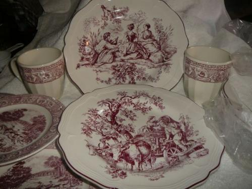 6 Place New England Toile Dinnerware Set