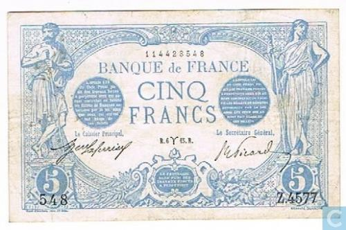 FRANCE: 5 f. March 1915