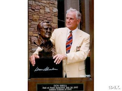 Don Shula (Miami Dolphins) autographed 1997 Hall of Fame 8x10 photo in plaque