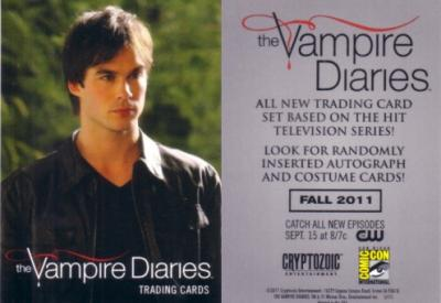 Vampire Diaries 2011 Comic-Con exclusive promo card (Ian Somerhalder as Damon)
