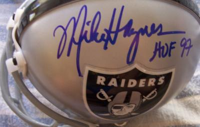 Mike Haynes & Howie Long autographed Raiders mini helmet