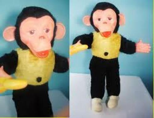 Toys; VINTAGE 50s STUFFED TOY MONKEY BANANA