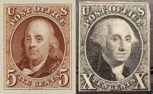 Stamps; First Stamps of USA, issued in 1847