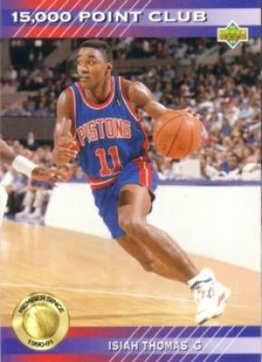 Isiah Thomas Pistons 1992-93 Upper Deck 15000 Point Club insert card