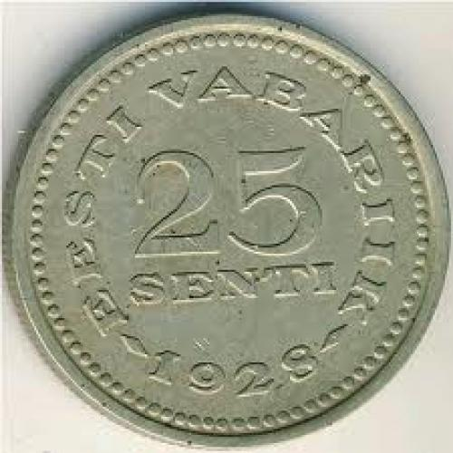 Coins; Estonia, 25 senti, 1928