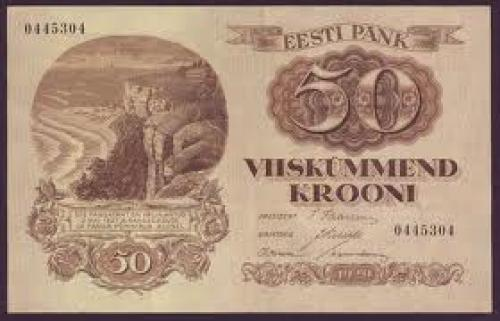 Banknotes;  ESTONIA 50 Krooni - 1929 issue