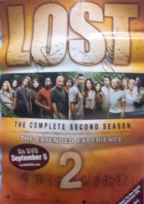 Jorge Garcia & Daniel Dae Kim autographed LOST Season 2 mini poster