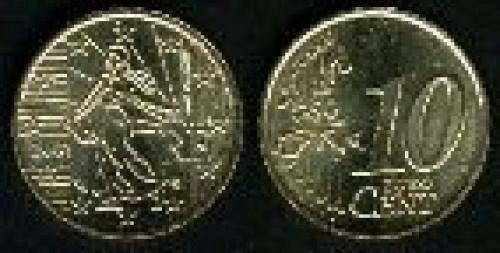 10 cents; Year: 1999-2006; (km 1285); Oro nórdico (Cu89Al5Zn5Sn1)