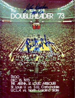 John Wooden & Bill Walton autographed 1973 UCLA basketball program