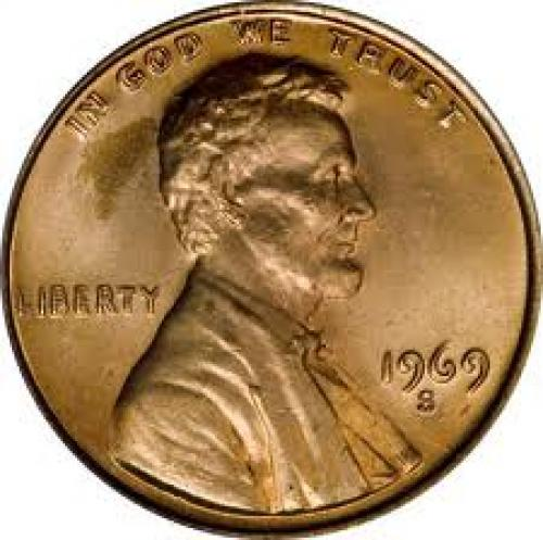 Coins; 1969-S Lincoln Cent With a Doubled Die Obverse