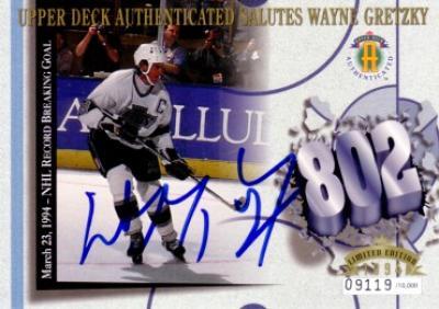 Wayne Gretzky autographed Goal 802 Los Angeles Kings UDA commemorative card